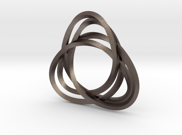 Tri mobius twin rail - pendant in Polished Bronzed Silver Steel
