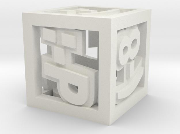 Happy Emoticon Die in White Natural Versatile Plastic