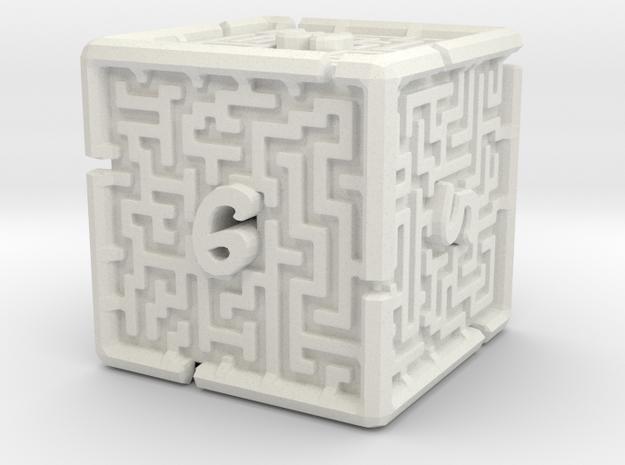 6 Sided Maze Die V2 in White Natural Versatile Plastic