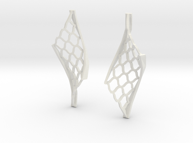 Twisted lattice girder earrings in White Natural Versatile Plastic
