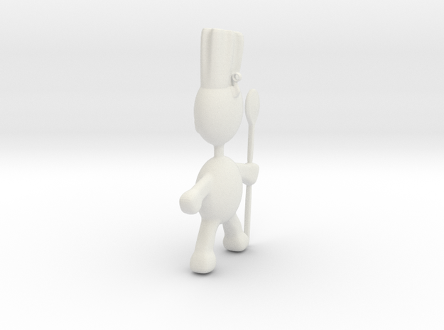 Chef pendant charm in White Natural Versatile Plastic