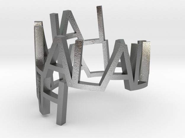 Metal ringpoem in Natural Silver