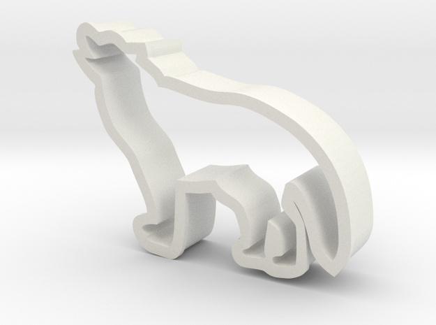Wolf shaped cookie cutter in White Natural Versatile Plastic
