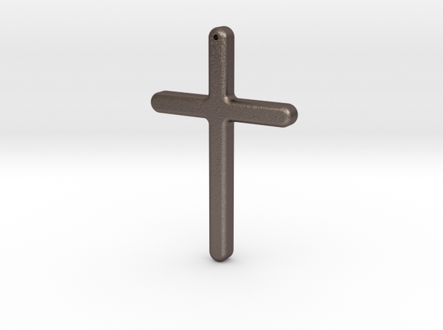 Simple Cross in Polished Bronzed Silver Steel