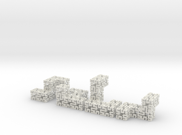 4 piece springy cube in White Strong & Flexible