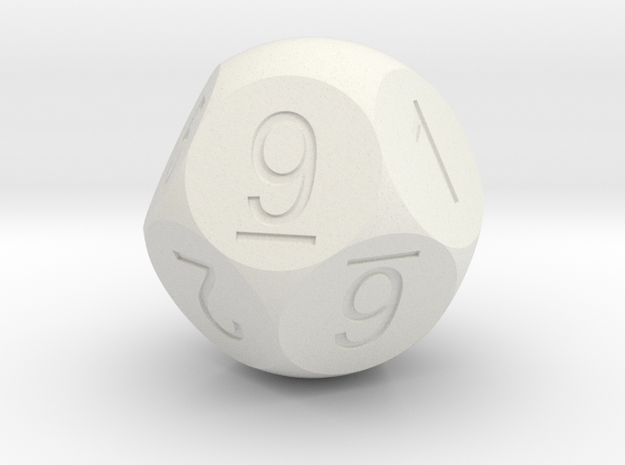 D10 5-fold Sphere Dice 3d printed In Winter Blue Strong and Flexible (the colors on the numbers were manually added)