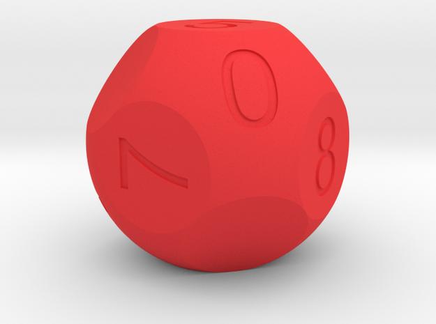 D10 3-fold Sphere Dice in Red Processed Versatile Plastic
