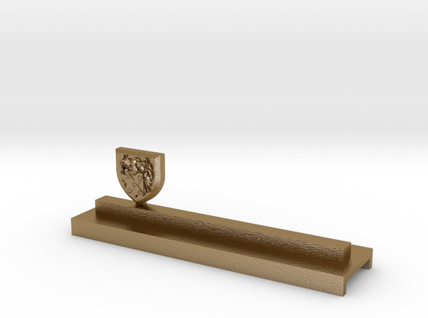 Knife holder with shield and coat of arms in Polished Gold Steel