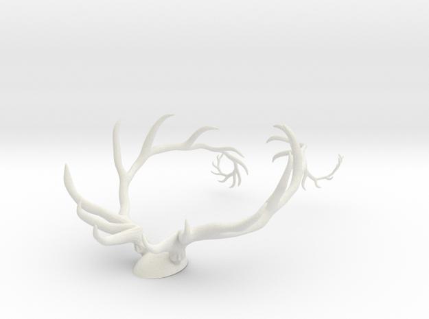 Antler Set w/Backing in White Natural Versatile Plastic