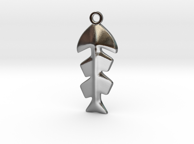 Fishbone Pendant in Polished Silver
