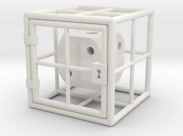 Caged D6 in White Natural Versatile Plastic