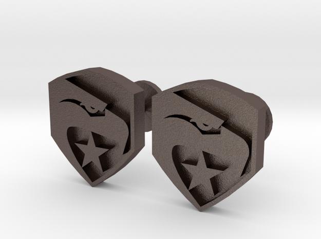 GI Joe logo cufflinks in Polished Bronzed Silver Steel