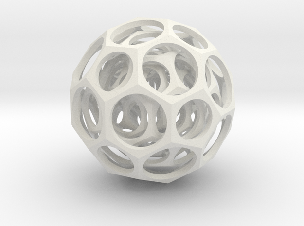 Nested truncated icosahedra in White Natural Versatile Plastic