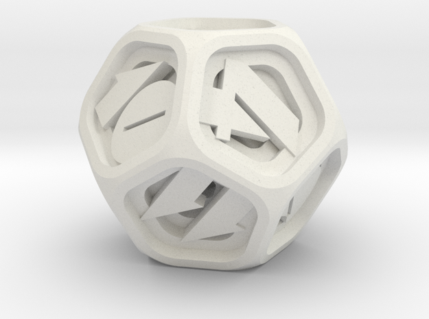 Stepped Die D12 in White Natural Versatile Plastic