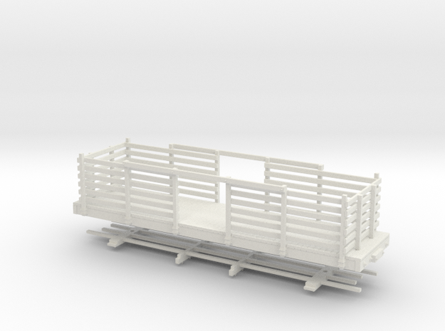 HOn30 28ft Flatcar with pulpwood rack  in White Natural Versatile Plastic