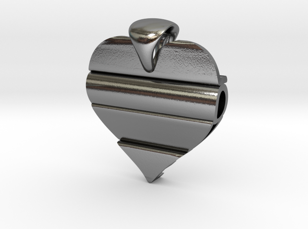 Secret Love Pendant in Polished Silver