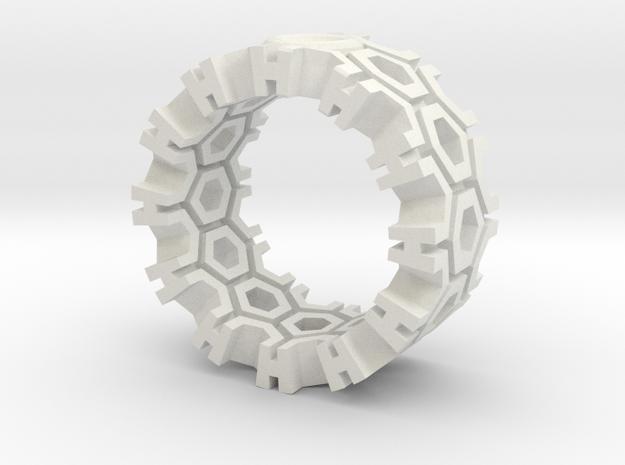 Hexagon Ring in White Natural Versatile Plastic