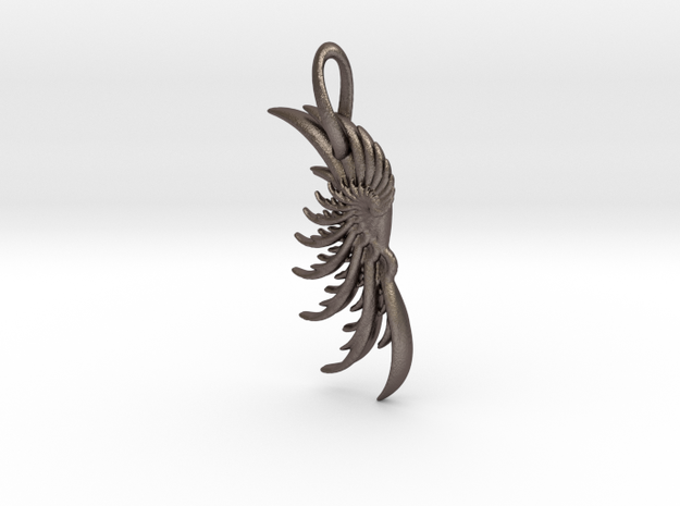 Wing Pendant : Fractal wing design in metal 3d printed