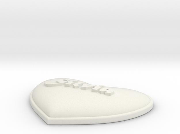 Heart Pendant Silvia insert in White Natural Versatile Plastic