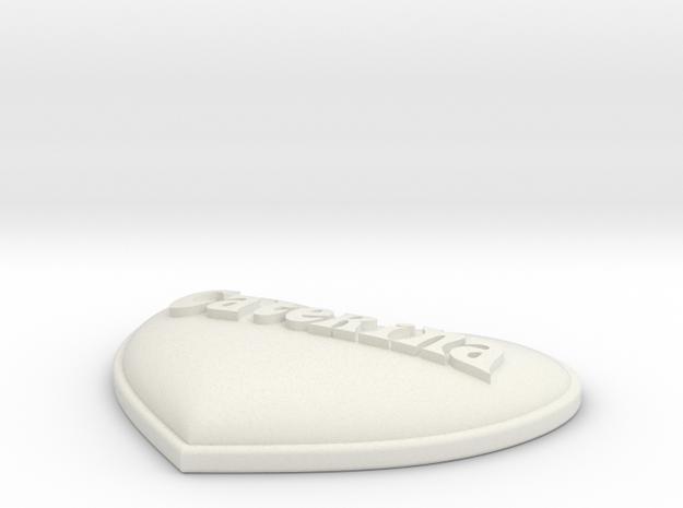 Heart Pendant insert - Caterina in White Natural Versatile Plastic