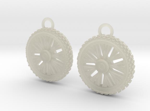 Dirt bike Wheel and Tire Earings 3d printed
