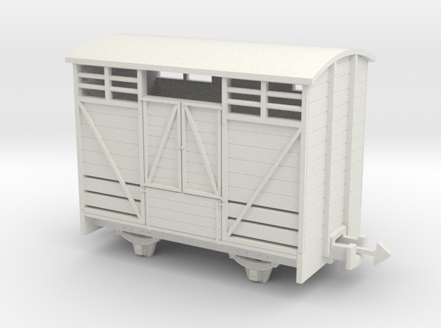 OO9 Cattle van Paneled door  in White Strong & Flexible