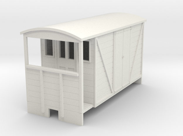 OO9 Brake van (long) with planked door in White Strong & Flexible