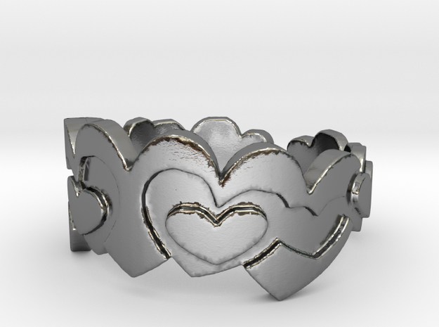 Open Layered Hearts in Ring Size 7 3d printed