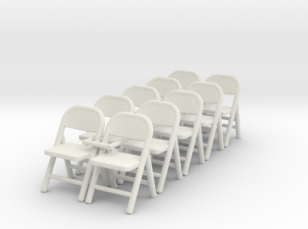 1:48 Folding Chair (Set of 10) in White Strong & Flexible
