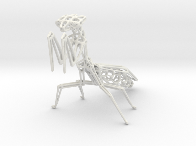 Praying Mantis in White Natural Versatile Plastic