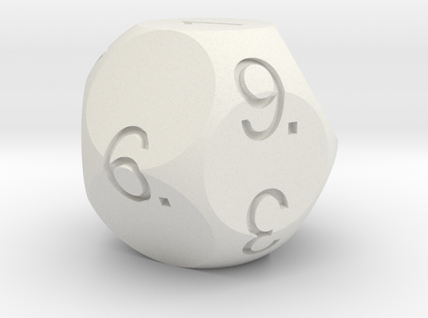D11 Sphere Dice in White Natural Versatile Plastic