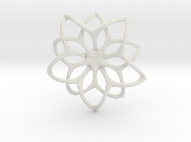 Flower Loops Pendant in White Natural Versatile Plastic