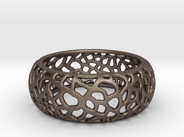 Organic Bangle Yewenguo B0000108 in Polished Bronzed Silver Steel