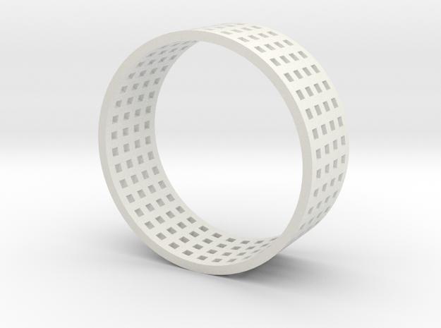 Grid ring in White Natural Versatile Plastic