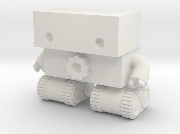 Robot 0025 Tank Tread Bot With Cog And Hands in White Natural Versatile Plastic