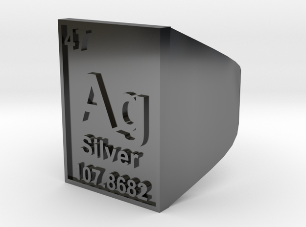 Silver Periodic Table Ring Size 8 Solid Ring Band 3d printed