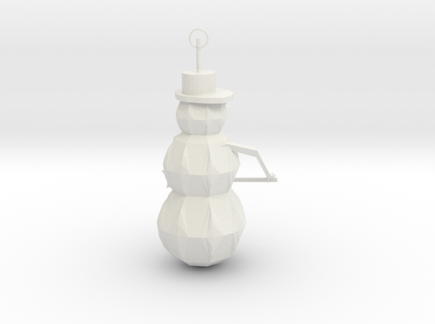 Snow Man Ornament in White Natural Versatile Plastic