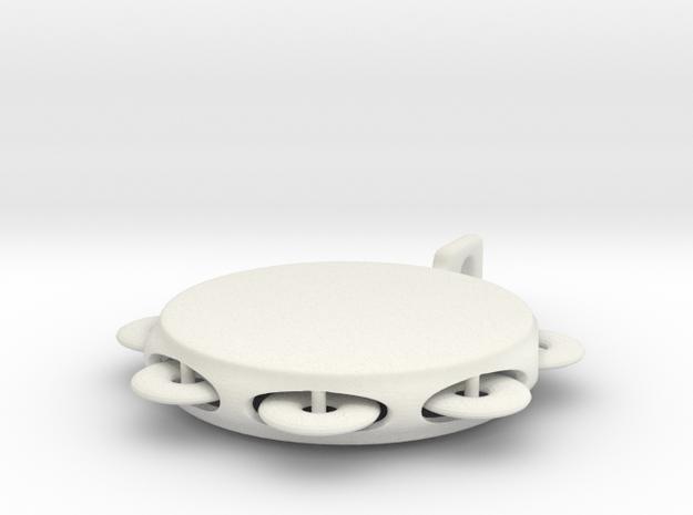 Minimum tambourine key chain in White Natural Versatile Plastic