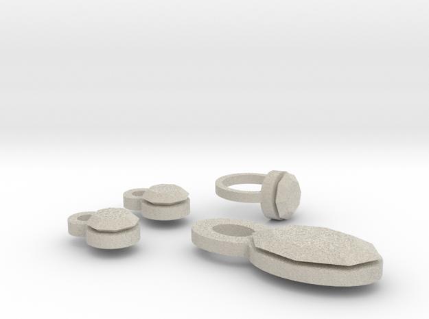 Lara Earrings Finger Ring  And Pendant 3d printed