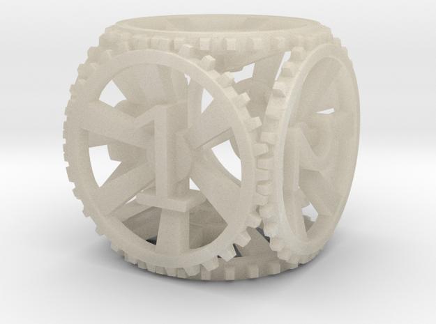 Gear Die D6 in White Acrylic