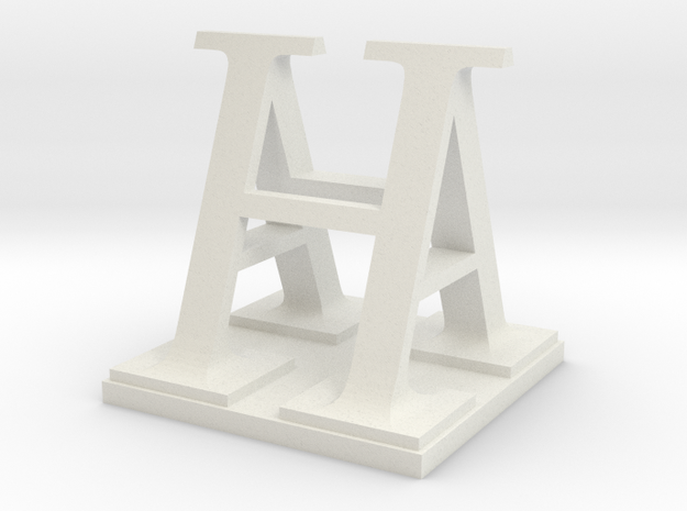 Two way letter / initial A&H in White Natural Versatile Plastic