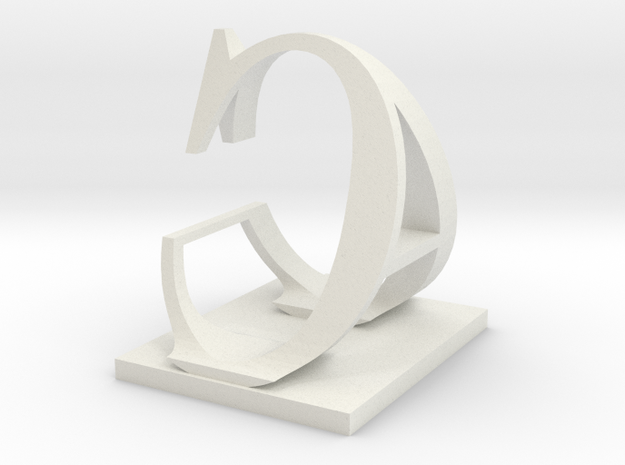 Two way letter / initial A&C in White Natural Versatile Plastic