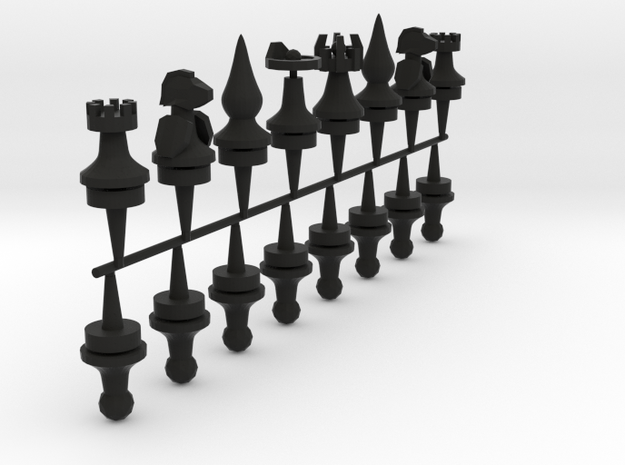 chess pieces type b in Black Natural Versatile Plastic