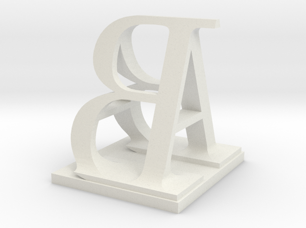 Two way letter / initial A&B in White Natural Versatile Plastic