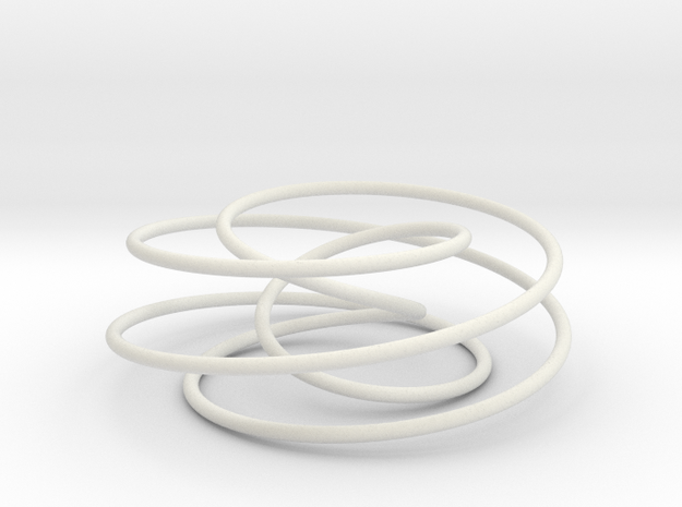 Cinquefoil Knot, 6cm thin version in White Natural Versatile Plastic