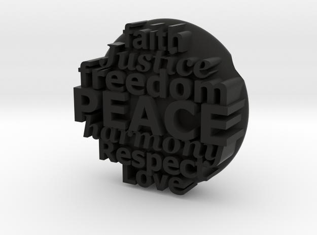 S42 Ellipse Peace, etc. @ 30 mm with 3 mm walls in Black Natural Versatile Plastic