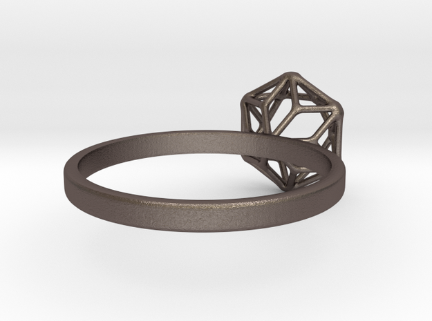 Diamon Ring 55 in Polished Bronzed Silver Steel