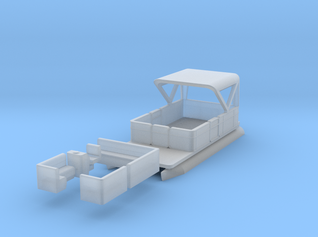 Pontoon Boat N 1:160 Flat Bottom in Smooth Fine Detail Plastic