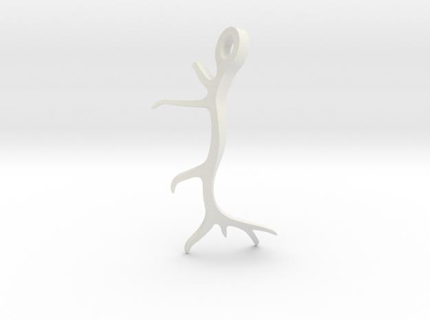Antler Pendant in White Natural Versatile Plastic