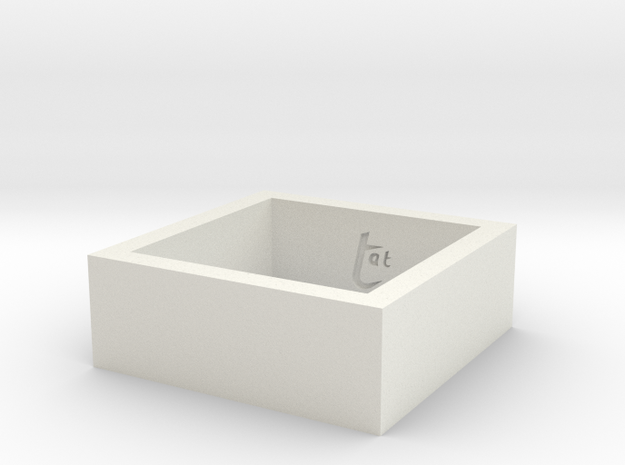 SquareRing_18mmx8mm in White Natural Versatile Plastic